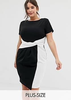 bodycon midi dress in colour block with twisted waist detail in mono-Multi