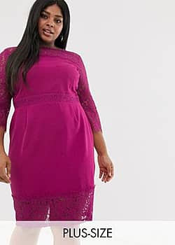 lace long sleeve and trim pencil dress in raspberry-Pink