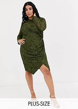 long sleeve lace mini wrap dress in olive-Green
