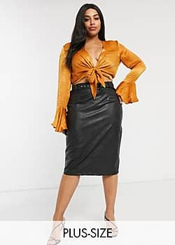 Paper Dolls PU belted midi skirt in black
