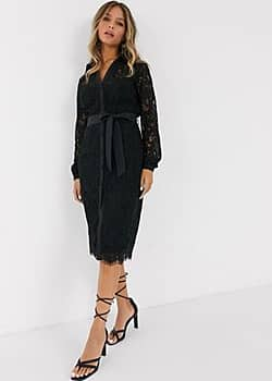 shirt dress in geo floral lace in black