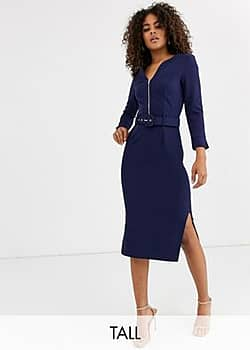 Paper Dolls belted midi dress with side splits in navy