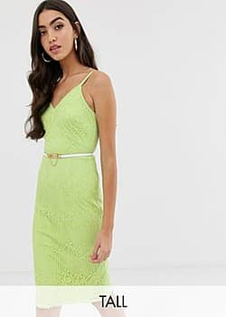 Paper Dolls cami strap lace dress with belt in lime-Green