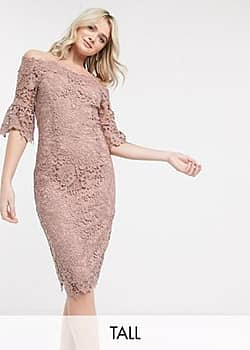Paper Dolls crochet lace midi pencil dress in pink