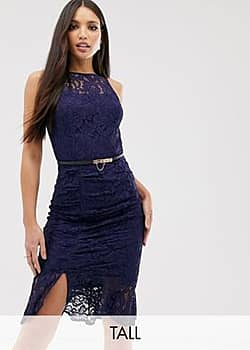 Paper Dolls high neck lace dress with flippy hem in navy