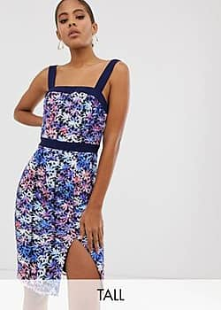 Paper Dolls square neck pencil dress with contrast trim in multi lace