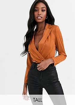 tailored blouse bodysuit with gold button detail in terracotta-Brown