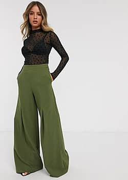 Paper Dolls wide leg trouser in khaki-Green