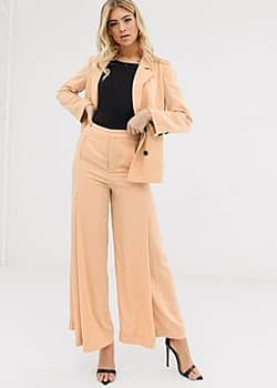 Parallel Lines soft tailored wide leg trouser with pleat detail in caramel-Beige