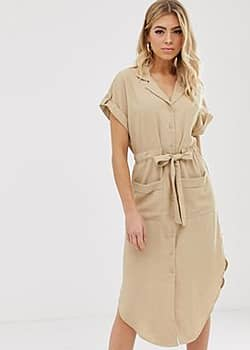 Parallel Lines soft utility shirt dress with tie waist in beige