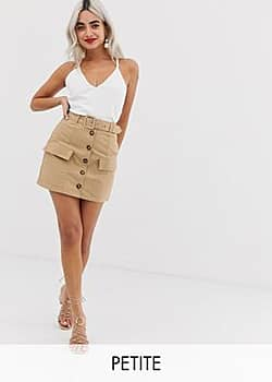Parisian button front utility skirt-Beige