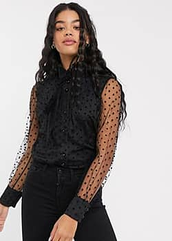 pussybow blouse in spotty organza-Black