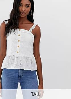 button front cami top in broderie anglaise-White