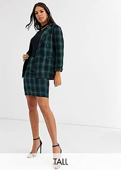 Parisian tailored a line mini skirt in green check