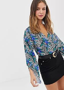 Parisian wrap body in animal and tropical print-Multi