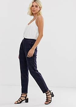 Aria check tailored trousers-Navy