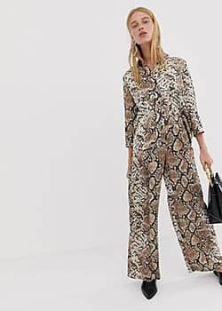 Pieces snake print wide leg trousers-Multi