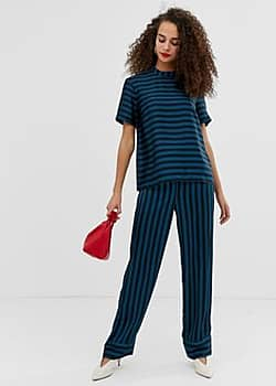 Pieces Tika stripe wide leg trousers-Navy