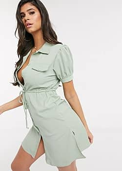 QED London belted utility shirt dress-Green