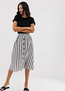 QED London button front midi skirt in navy stripe