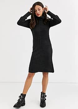 QED London cowl neck jumper dress in charcoal-Grey
