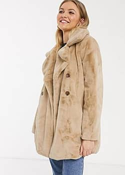 double breasted faux fur coat in biscuit-Beige