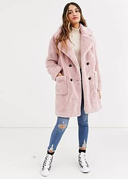 double breasted teddy coat in pink