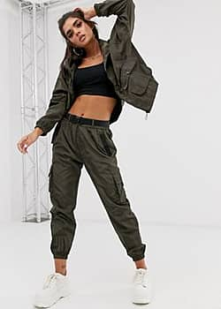 QED London elasticated cuff cargo trousers in khaki-Green