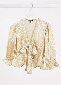 QED London jacquard satin tie front blouse in champagne-Beige