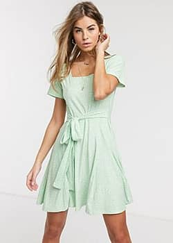 QED London soft touch square neck mini dress with tie back in mint polka dot-Green