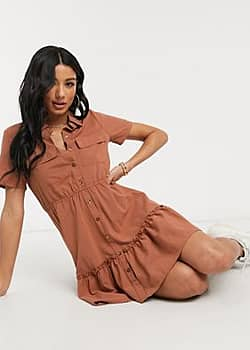 QED London tiered hem utility shirt dress in rust-Copper