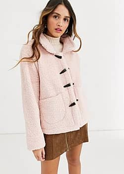 toggle borg jacket in pink