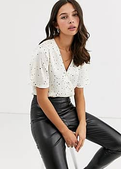 QED London wrap front bodysuit with black spot-White