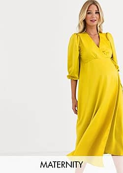 Maternity satin wrap front bell sleeve midi dress in gold-Yellow