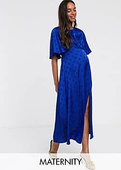 Queen Bee satin midi dress with angel sleeve in cobalt-Blue