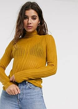 Quinn mock neck burnout knit long sleeved top-Yellow
