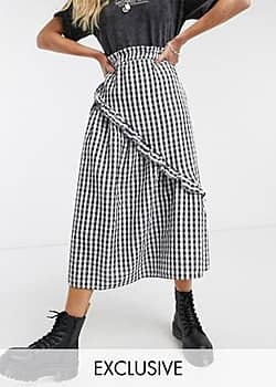 Reclaimed Vintage inspired midi skirt in check with frill-Multi