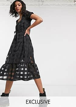 Reclaimed Vintage inspired organza check midi dress with puff sleeve-Black