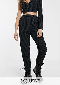 Reclaimed Vintage inspired pinstripe trouser with ruched cuff hem-Black