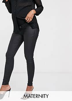 Molly overbump waxed coated jeans in black