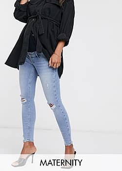 River Island Molly ripped overbump skinny jeans in blue