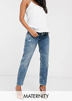 mom overbump jeans in mid auth blue