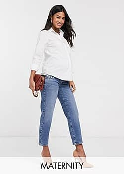 River Island overbump straight leg jeans in mid auth-Blue