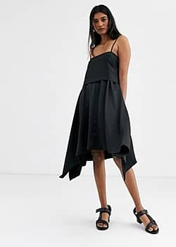 Soaked in Luxury layered 2 way dress-Black