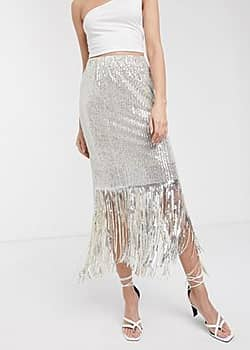 Soaked in Luxury sequin fringe midi skirt-Silver
