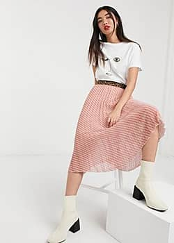 Soaked in Luxury stripe skirt with leopard waistband-Multi