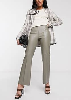 Soaked in Luxury vegan leather kick flared trousers-Green