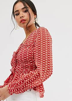 sunny afternoon ruched top-Red