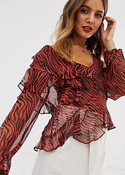 Walk On By ruffle animal print blouse-Red