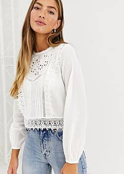 romantic shirt with high neck in white